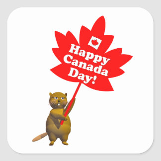 Canada Day Beaver and Maple Leaf Sticker