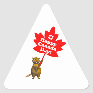 Canada Day Beaver and Maple Leaf Triangle Sticker