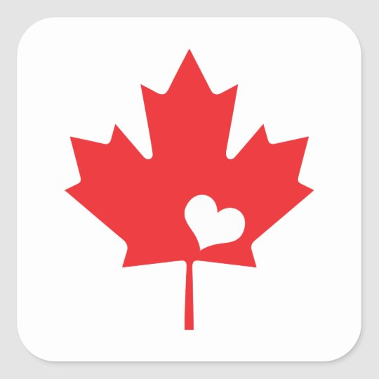 ce758005ec02 Canada Day Canadian Maple Leaf and Heart Square Sticker