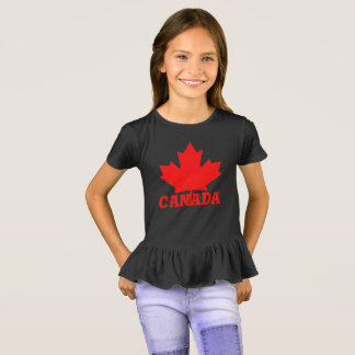 Canada Day cute fun custom red maple leaf shirt