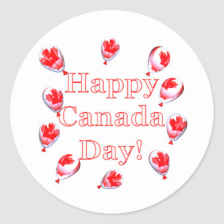 Canada Day Maple Leaf Balloons Classic Round Sticker