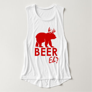 Canada Day Maple leaf Beer Eh? by Lighthouse Route Flowy Muscle Tank Top