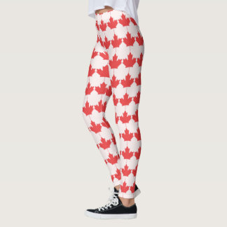 Canada Day Maple Leaf Red Leggings