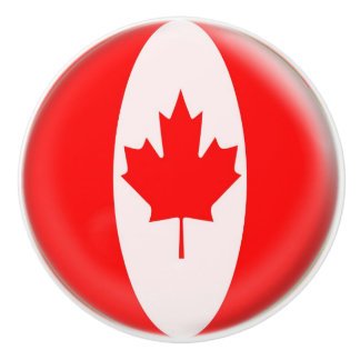 Canada Day maple leaf red & white flag Ceramic Knob