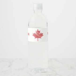 Canada Day maple leaf red & white flag Water Bottle Label