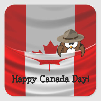 Canada Day owl Square Sticker