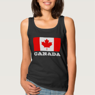 Canada Day tank tops with Canadian maple leaf flag