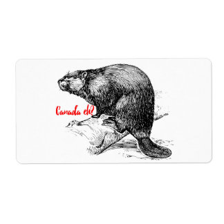 Canada Eh ? Beaver Sticker label Lighthouse Route Shipping Label