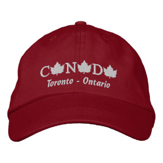 Canada Embroidered Red Ball Cap - Toronto, Ontario Embroidered Baseball Cap