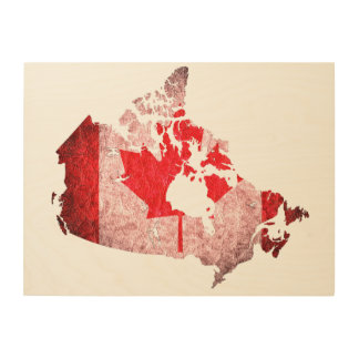 Canada Flag and Map Wood Canvases
