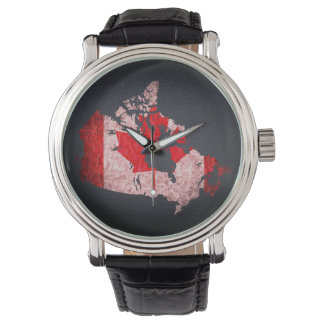 Canada Flag and Map Wristwatches