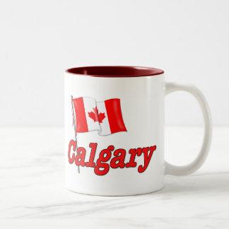 Canada Flag - Calgary Two-Tone Coffee Mug