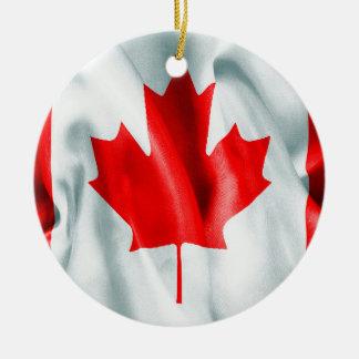 Canada Flag Ceramic Round Christmas Ornament