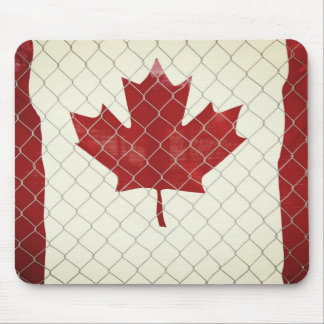 Canada Flag. Chain Link Fence. Rustic. Cool. Mouse Pad