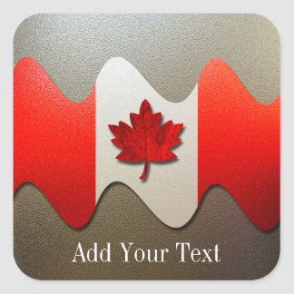 Canada Flag-Chrome by Shirley Taylor Square Sticker