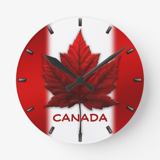 Canada Flag Clock Canada Souvenir Wall Clocks Gift Zazzle Ca