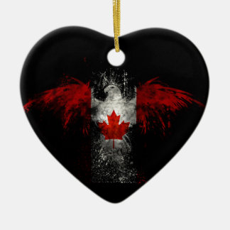 CANADA FLAG EAGLE CERAMIC ORNAMENT