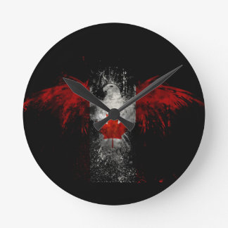 CANADA FLAG EAGLE ROUND CLOCK