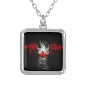 CANADA FLAG EAGLE SILVER PLATED NECKLACE