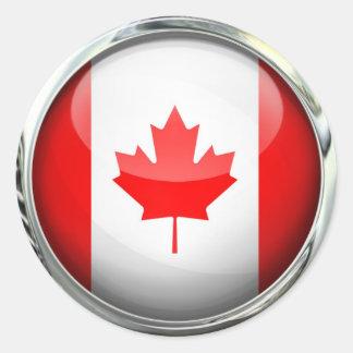 Canada Flag Glass Ball Round Sticker