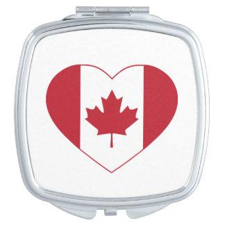 Canada Flag Heart Compact Mirror