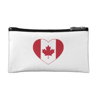 Canada Flag Heart Cosmetic Bag