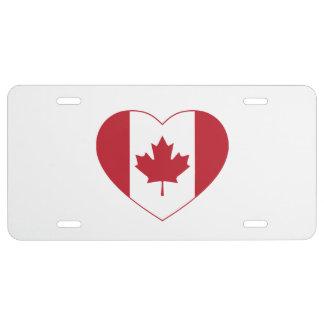 Canada Flag Heart License Plate