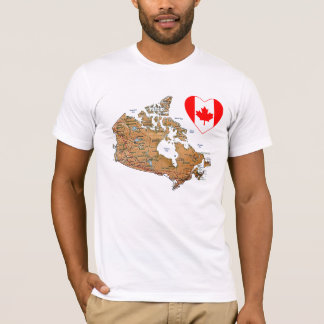 Canada Flag Heart + Map T-Shirt