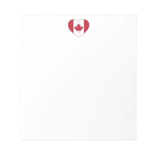 Canada Flag Heart Notepad