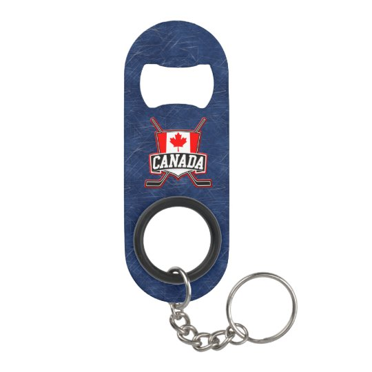 Canada Flag Hockey Logo Mini Bottle Opener