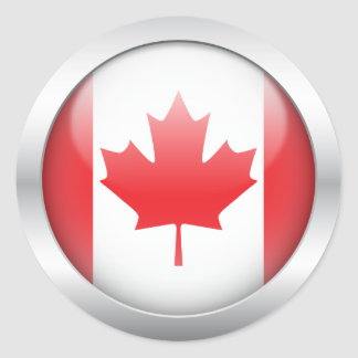 Canada Flag in Orb Round Sticker