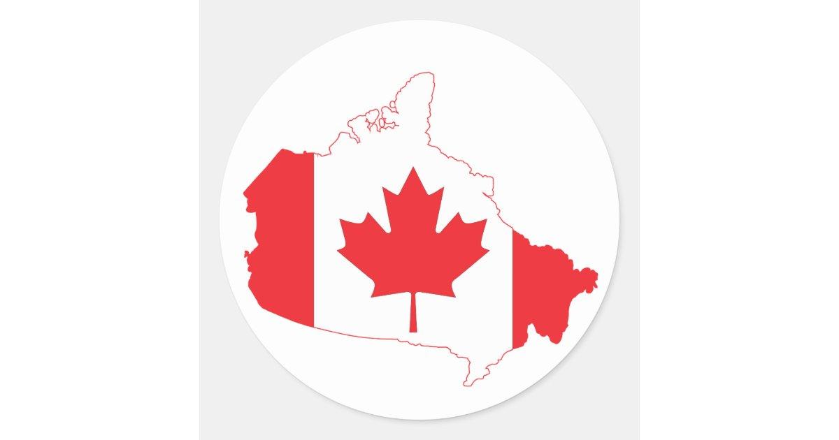 Custom Canada Map Stickers Zazzleca - Canada map with flag