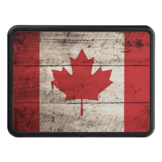 Canada Flag on Old Wood Grain Hitch Cover