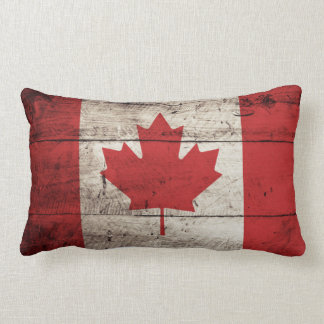 Canada Flag on Old Wood Grain Lumbar Pillow
