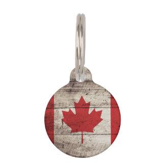 Canada Flag on Old Wood Grain Pet Nametag