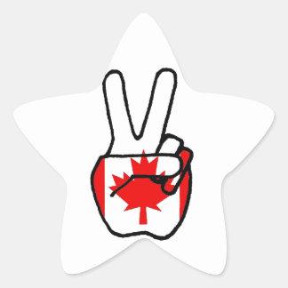 Canada Flag Peace Symbol Hand Star Sticker