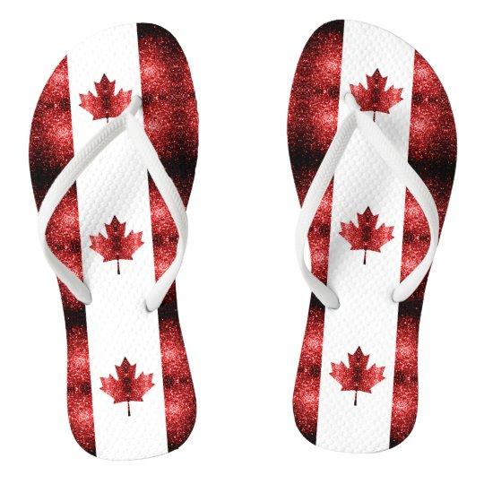 465665bbada59a Canada flag red sparkles flip flops