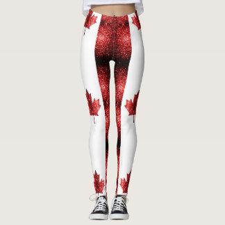 Canada flag red sparkles leggings