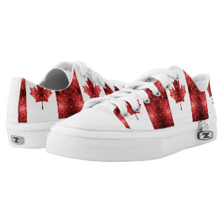 Canada flag red sparkles Low-Top sneakers
