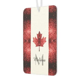 Canada flag red sparkles Monogram Car Air Freshener