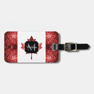 Canada flag red sparkles Monogram Luggage Tag
