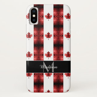 Canada flag red sparkles pattern Monogram iPhone X Case