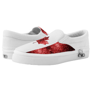 Canada flag red sparkles Slip-On sneakers