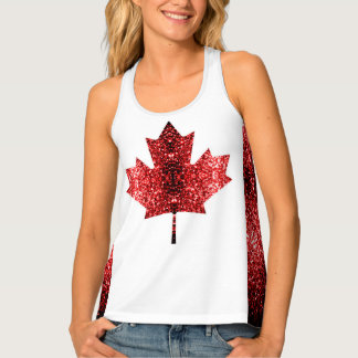 Canada flag red sparkles tank top