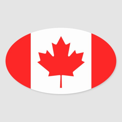 Canada Flag Oval Stickers