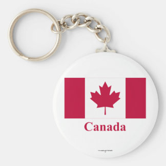 Canada Flag with Name Basic Round Button Keychain