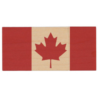 Canada Flag Wood USB Drive