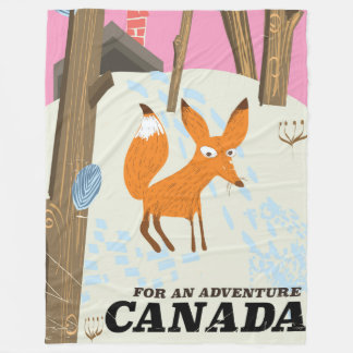 Canada Fox vintage travel poster Fleece Blanket