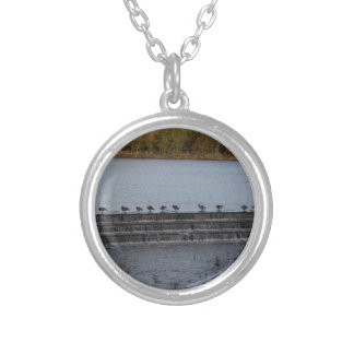 Canada Geese All In A Row Silver Plated Necklace