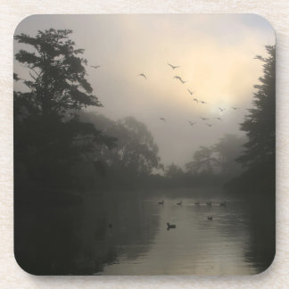Canada Geese and Morning Fog Coaster